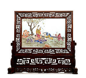Chinese Famille Rose Porcelain Plaque Screen Kid