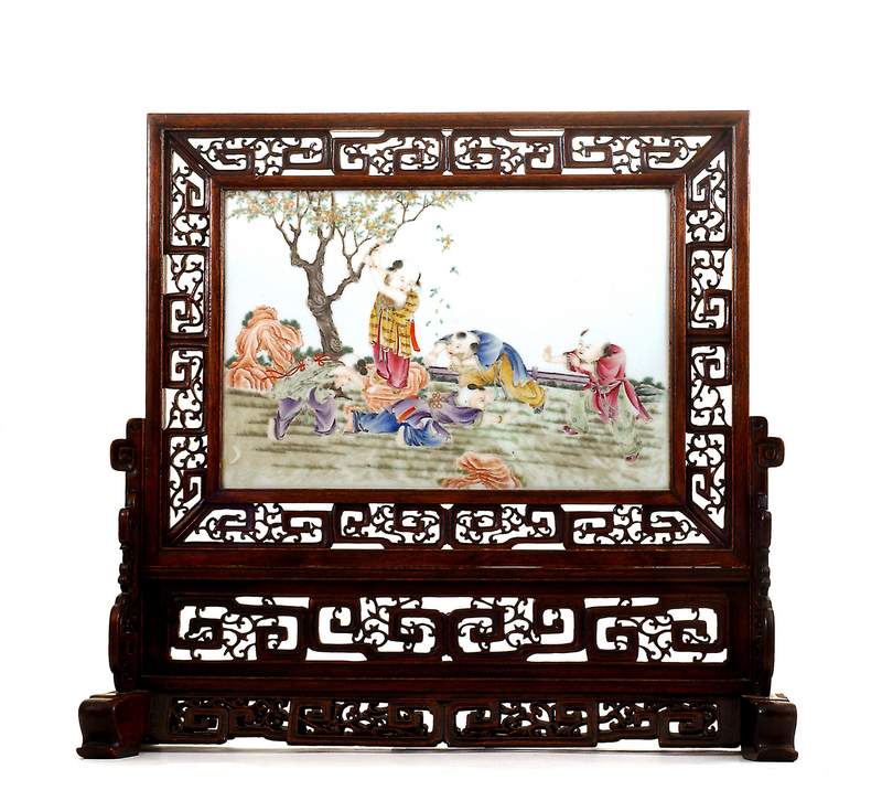 Chinese Famille Rose Porcelain Plaque Screen Children