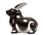 19C Japanese Kutani Black & White Rabbit Bunny