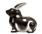 19C Japanese Kutani Black & White Rabbit Bunny