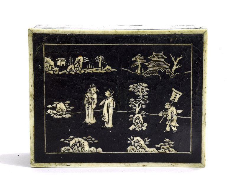 17C Chinese Lacquer Over Bone Box Figure