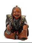 Japanese Makie Lacquer Samurai Figurine Sake Bottle