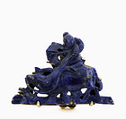 Chinese Lapis Carved Boy & Water Buffalo Pin