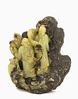 Chinese Soapstone Carved 3 Immortal Shoulau Figuirne