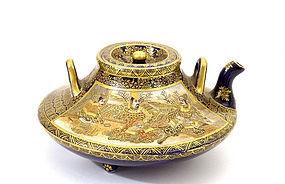 Old Japanese Satsuma Teapot Kikozan Samurai