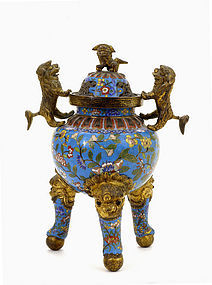 19C Chinese Gilt Cloisonne Fu Dog Lion Censer
