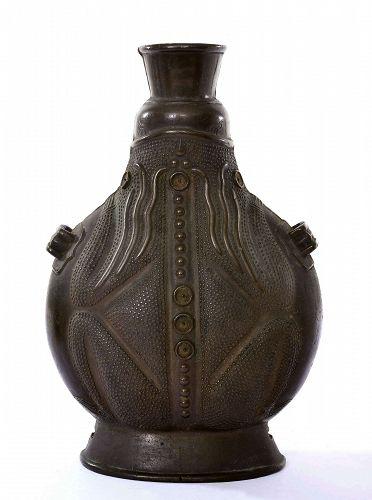19C Tibetan Tibet Bronze Frog Vessel Flask Vase