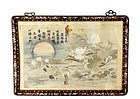 Chinese Silk Embroidery Mother Pearl Inlay Wood Panel