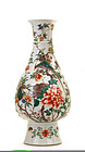 Large 19C Chinese Porcelain Wucai Bird & Flower Vase