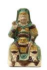 19C Chinese Sancai Pottery Temple General Figure