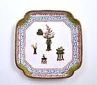 19C Chinese Enamel Square Dish Tray Mk