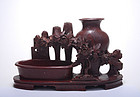 Chinese Soapstone Carved Scholar Table Display Vase