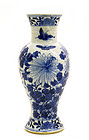 Late 19C Chinese Blue & White Vase Chrysanthemum