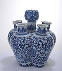 19C Chinese Porcelain Blue & White Lotus Tulip Vase