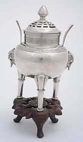 Early 20C Chinese Sterling Silver Censer Mk