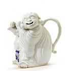 Japanese Blue White Porcelain Hirado Hotei Teapot