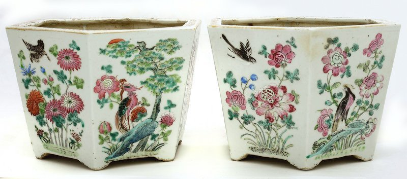 2 Early 20C Chinese Famille Rose Planter Pot Phoenix