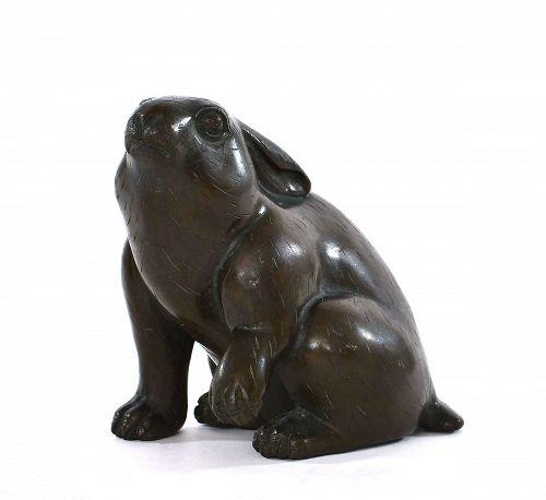 1930's Japanese Bronze Rabbit Bunny Okimono