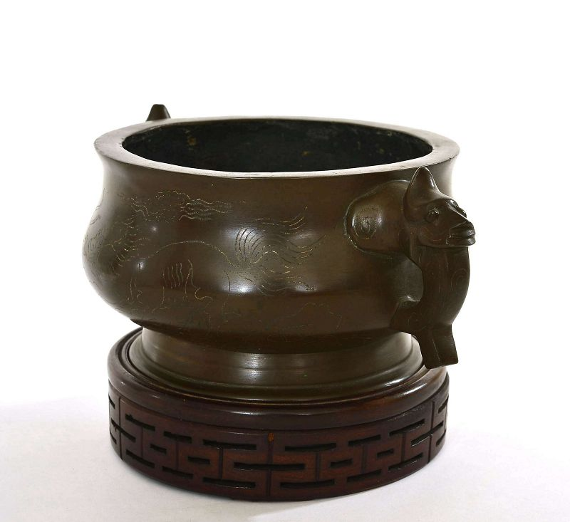 19C Chinese Bronze Silver Inlay Censer Shisou