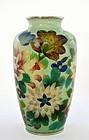 Old Japanese Cloisonne Plique a Jour Vase w Flower