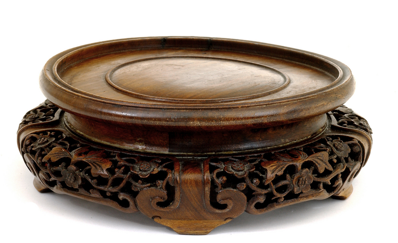 Late 19C Chinese Huanghuali Wood Carved Vase Stand