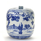 Japanese Chinese Blue & White Water Jar Mizusashi