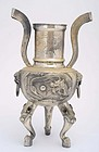 Early 20C Chinese Silver Sterling Dragon Censer