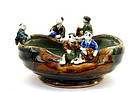 Japanese Sumida Gawa Bowl Figurine Mk