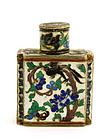 Chinese Silver Enamel Pill Box Bottle Bird & Deer