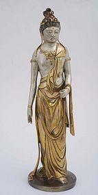 Old Japanese Gilt Bronze Guanyin Buddha Takamura Style
