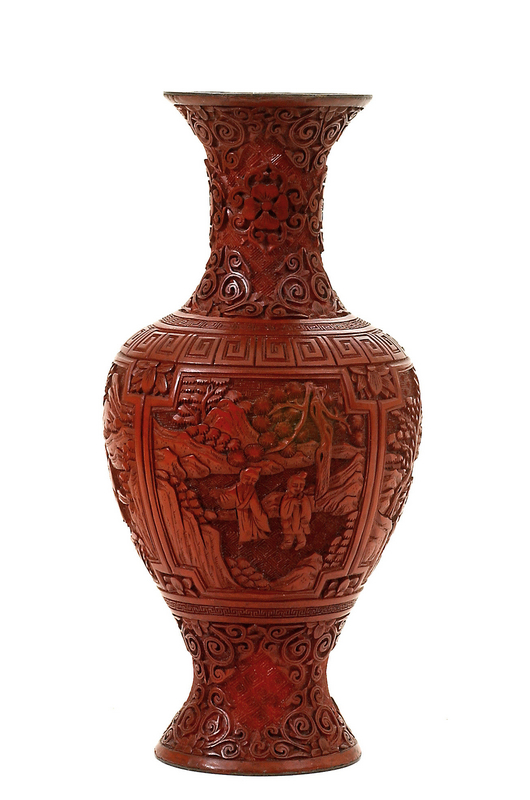 Early 20C Chinese Cinnabar Carved Vase Old Sage