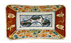 5 Japanese Imari Rectangular Plate w Flower