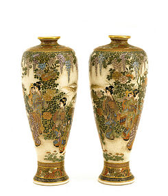 2 Meiji Japanese Satsuma Vase Geisha Child Mk