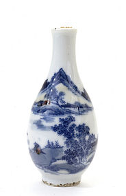 Late 19C Chinese Blue & White Porcelain Snuff Bottle