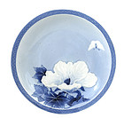 Japanese Blue & White Relief Hirado Flower Plate