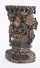 Chinese Soapstone Carved Scholar Brush Pot Bird