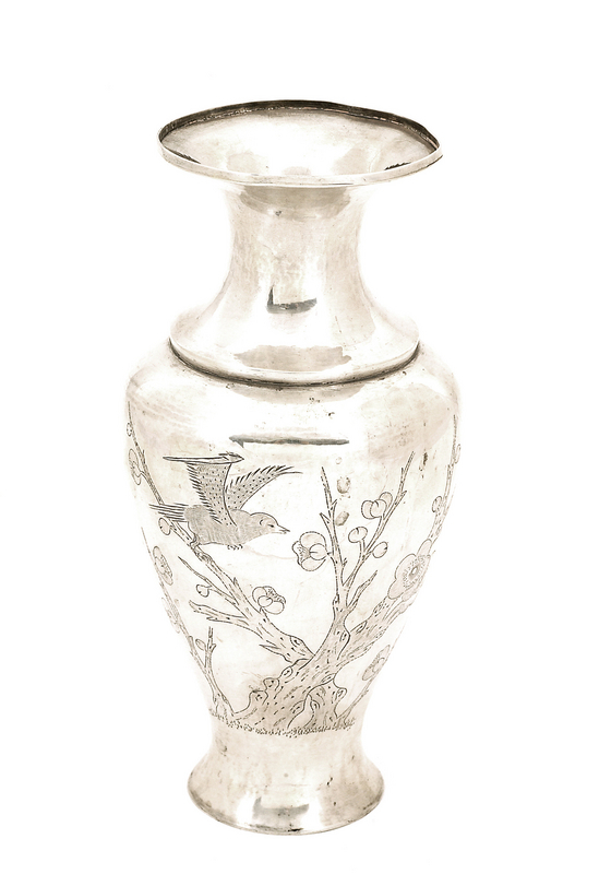 Early 20C Chinese Silver Sterling Vase Plum and Bird