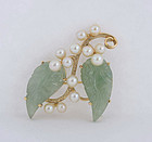 Hawaiian Mings's 14K Gold, Jade & Pearls Pin Brooch