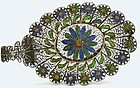 Early 20C Chinese Silver Enamel Filigree Dish Flower