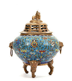 19C Chinese Cloisonne Censer Elephant Feet