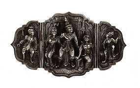 Thai Siam Sterling Silver Belt Buckle Dancer Figurine