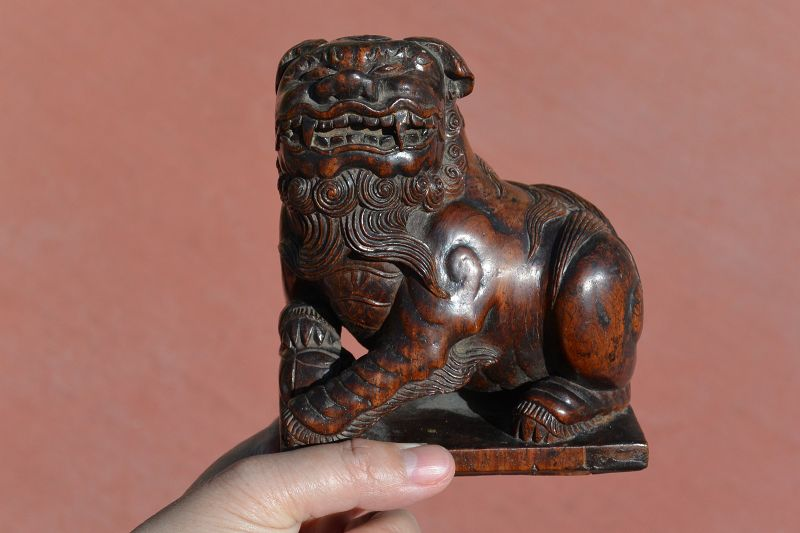 19C Chinese Huanghuali Wood Carved Foo Fu Dog Lion