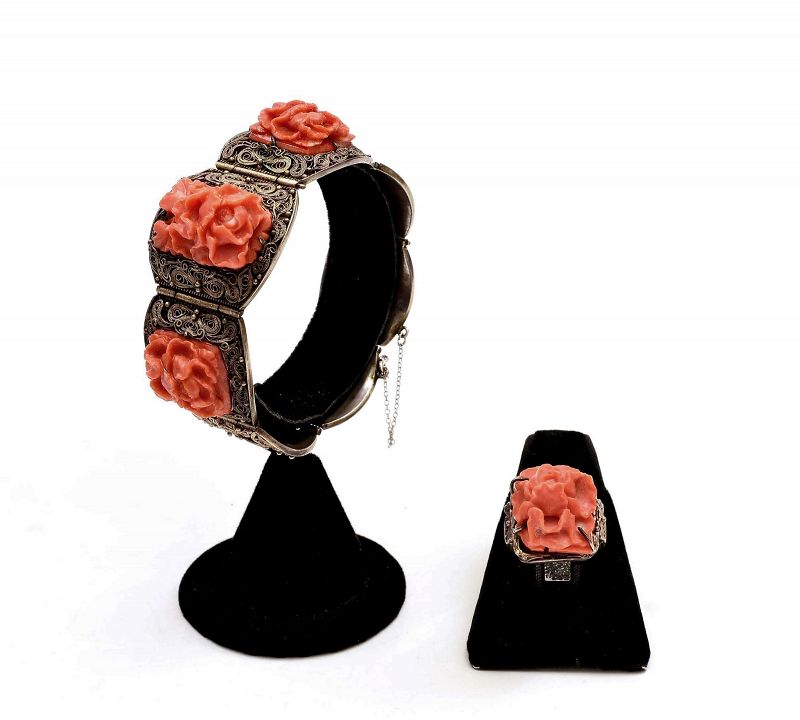 Chinese Silver Filigree Coral Floral Bracelet & Ring Mk