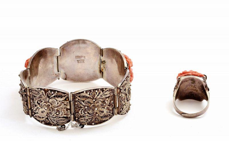 Chinese Silver Filigree Coral Floral Bracelet & Ring Mk