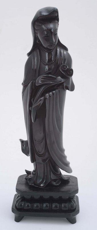 Chinese Dark Cherry Amber Carved Guanyin Buddha