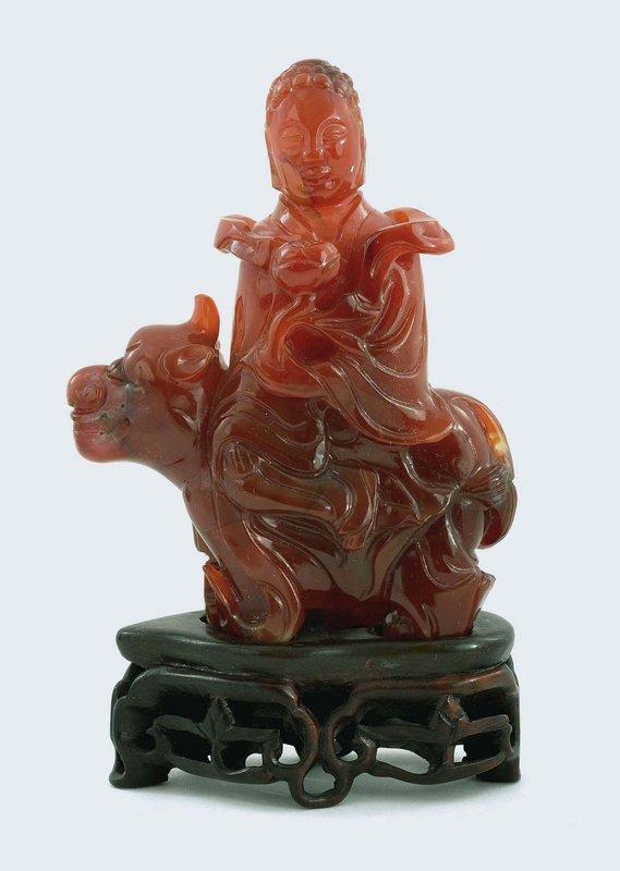 19C Chinese Agate Carnelian Guanyin Buddha Beast