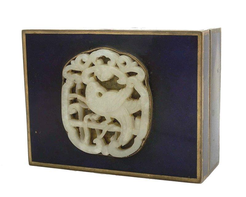 19C Chinese Enamel Box  White Jade Plaque