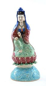 19C Century Chinese Famille Rose Guanyin Buddha
