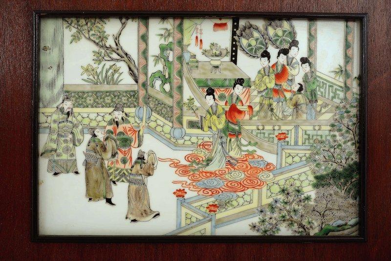 2 Chinese Famille Verte Porcelain Plaque Figurine