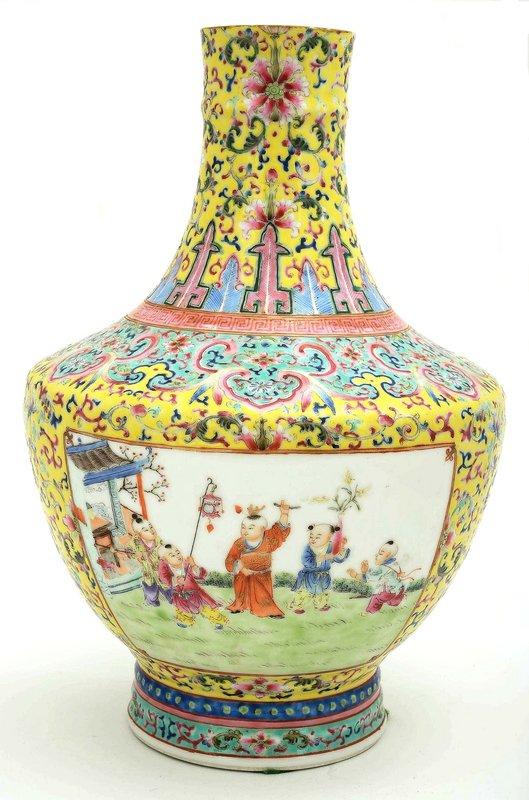 Chinese Famille Rose Yellow Ground Vase Kid Mk